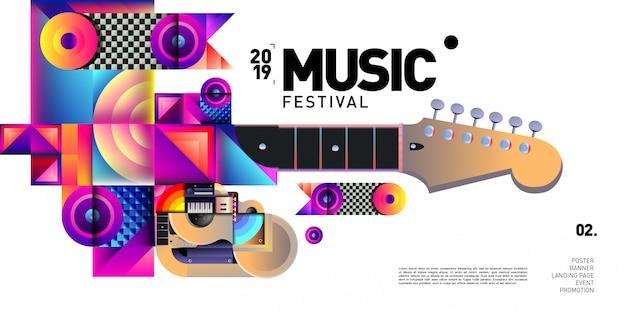Вектор красочный музыкальный фестиваль для баннера и плаката