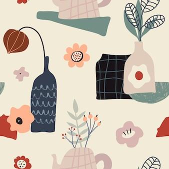 花の秋の葉や果物とカラフルな自然のシームレスなパターンをベクトルします。