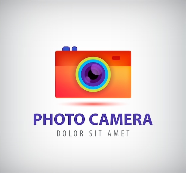 Vector colorful photo camera logo
