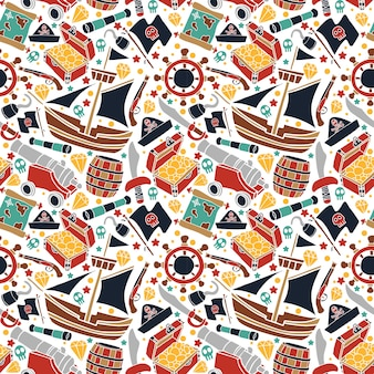 Vector colorful pirates set pattern repetition in white background