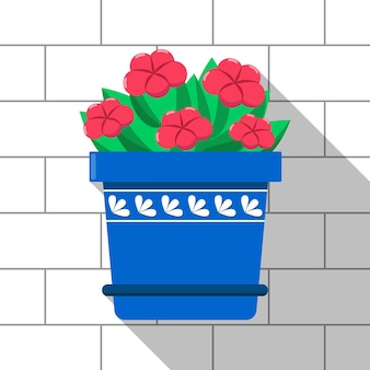 Vector colorful plant in the blue pot on light brick wall background red flowers and green leaves