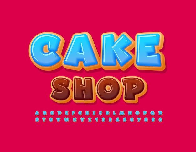 ベクトルカラフルなポスターケーキショップ青い艶をかけられたフォントおいしい面白いアルファベットの文字と数字