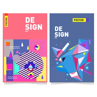 Vector colorful poster design template with memphis style background