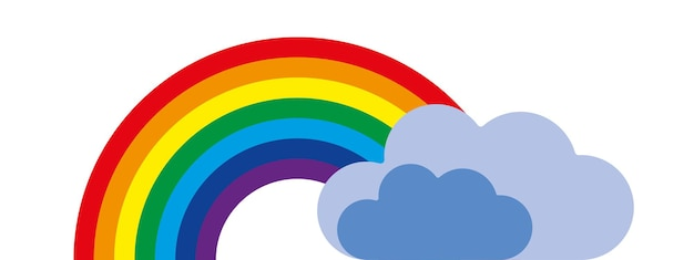Vector colorful rainbow symbol with clouds on blue background