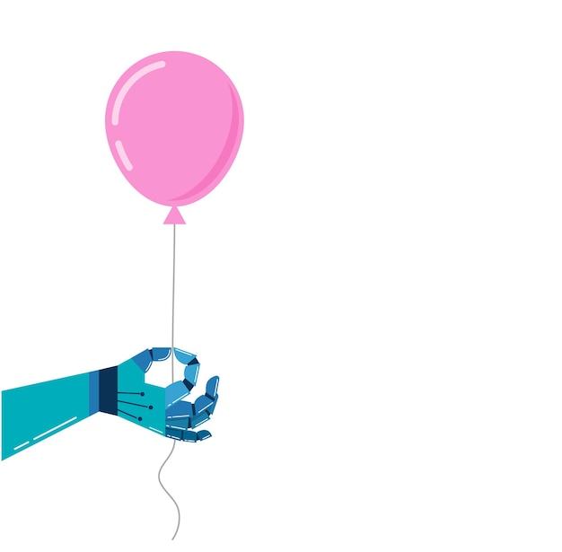 Vector colorful robotic hand hold a pink balloon