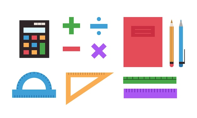 Vector colorful school supplies set mathematics symbols ruler calculator