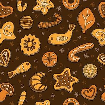 ベクトルカラフルなシームレスパターン、暗い背景の上のクリスマスクッキーのセット