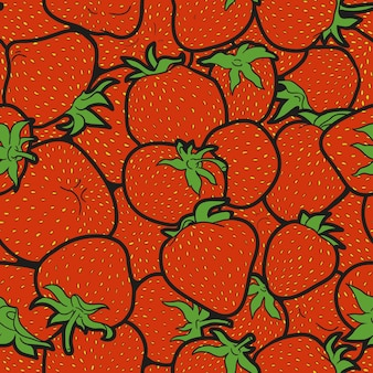 Vector colorful seamless pattern, strawberry set