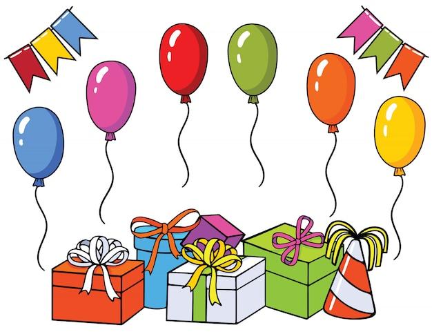 Вектор красочный набор для поздравительной открытки. шаблон для дизайна с элементами праздника: подарки, воздушные шары, флаги