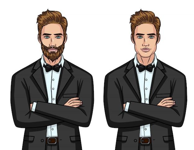 Вектор красочный набор из двух элегантных джентльмена в костюмах
