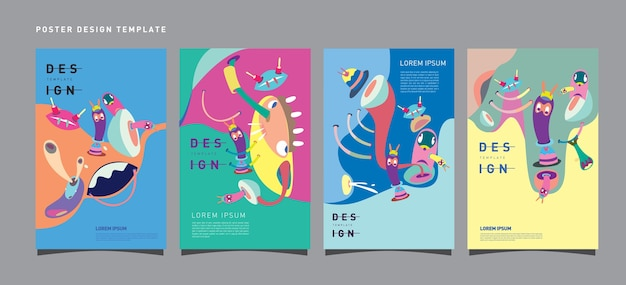 Vector colorful set of poster design template for toys and hobby festival