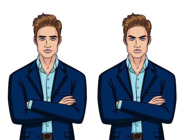 Vector colorful set of two different mood businessman: angry and cheerful character isolated