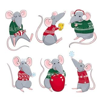쥐의 삽화가 있는 벡터 화려한 세트는 크리스마스 스웨터를 입습니다. 새해와 크리스마스 캐릭터. 인사말 카드, 달력, 지문을 위한 디자인을 위한 elemets로 사용할 수 있습니다.