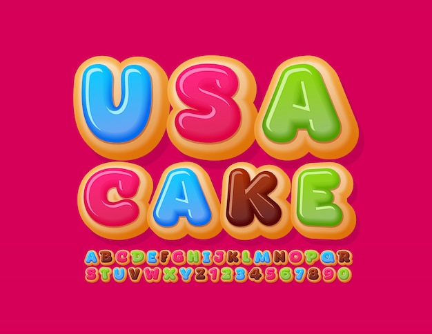 Vector colorful sign usa cake with tasty donut alphabet letters and numbers. sweet bright font
