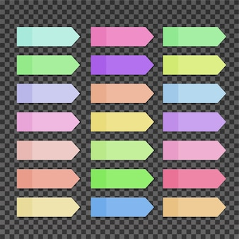 Vector colorful sticky notes on transparent background
