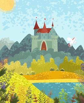 Векторная красочная текстурированная иллюстрация сказочного природного пейзажа с замком и пегасом
