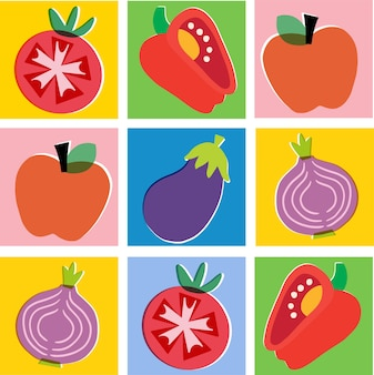 Вектор красочные овощи и фрукты иллюстрации графический ресурс цифровые изображения