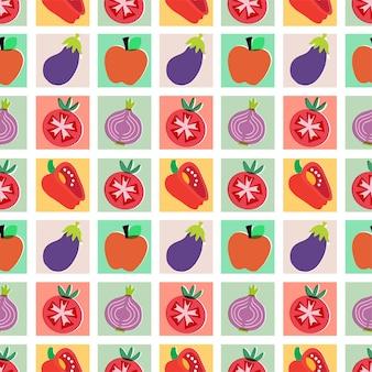 ベクトルカラフルな野菜や果物のイラストシームレスな繰り返しパターン家の装飾プリント