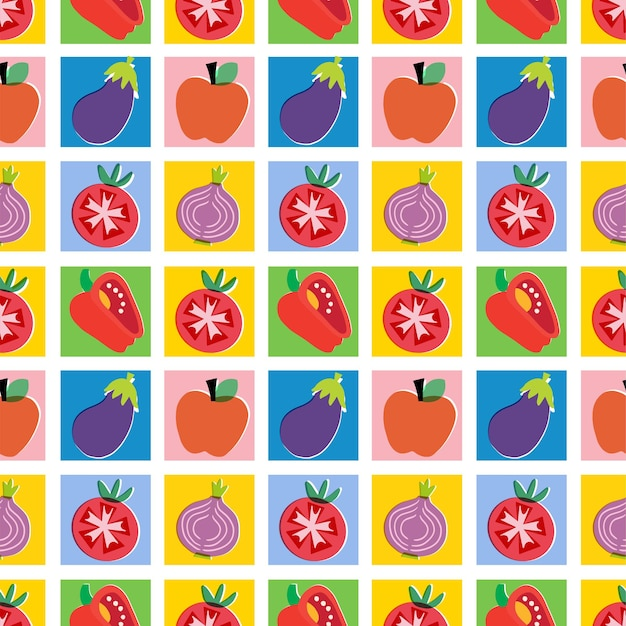 Vector colorful vegetable and fruit illustration seamless repeat pattern home decor print kitchen