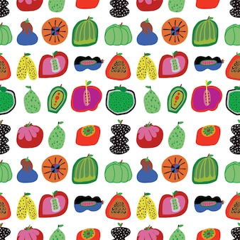 Vector colorful vegetable and fruit illustration seamless repeat pattern home decor print