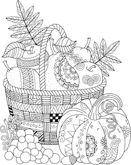 大人のためのベクトルの塗り絵。感謝祭の日。リンゴのバスケット。