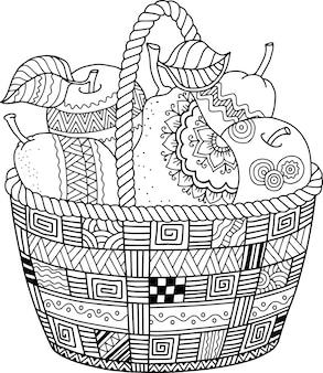 Вектор книжка-раскраска для взрослых. день благодарения. корзина яблок.