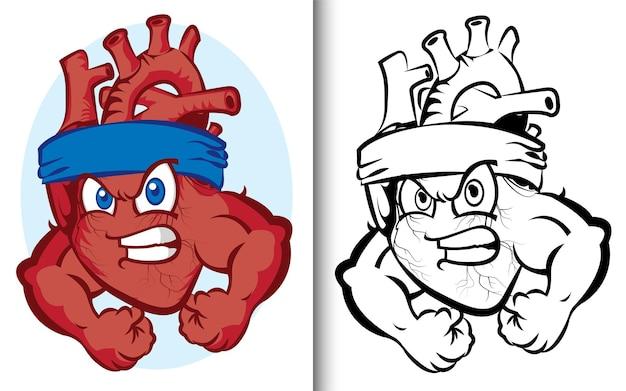 Векторная раскраска для взрослых. забавный персонаж с сильным сердцем