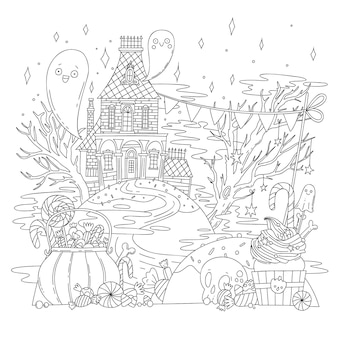 Vector coloring illustration with halloween landscape, old house, ghosts, skeletons, pumpkins and sweets