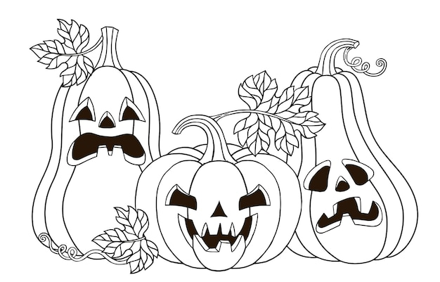 Vector coloring page. cute pumpkins monster with a carved horrible smile. happy halloween vector illustration in a cartoon style for your design for the holiday