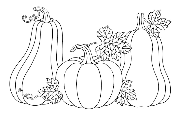 Vector coloring page. happy halloween vector illustration cute pumpkins for your design for the holiday