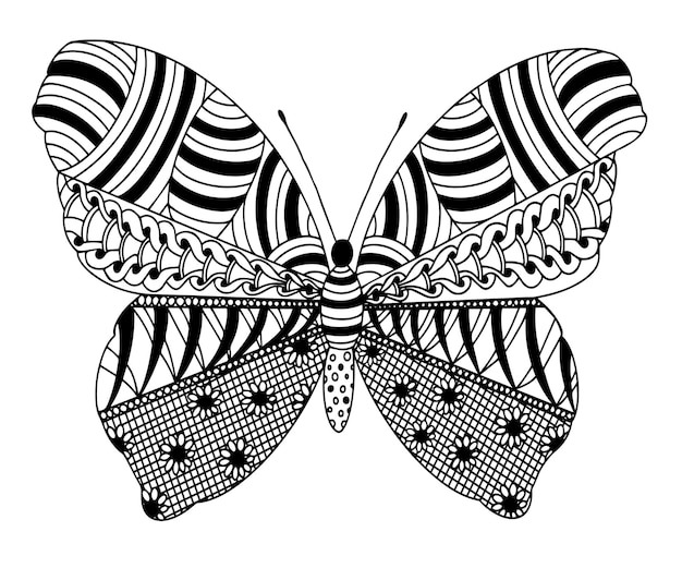 Vector coloring page with butterfly from zentangle patterns