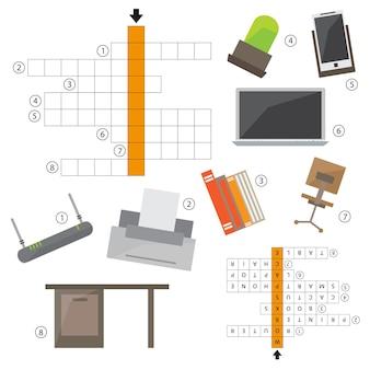 벡터 무색 낱말, 사무실 아이콘 세트에 대한 어린이를 위한 교육 게임