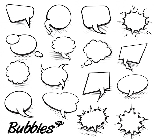 Vector comic text speech bubbles