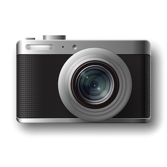 Vector compact photo camera top view isolated on white background