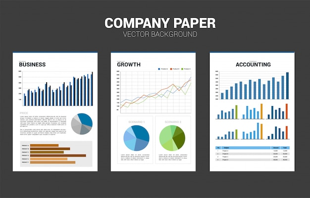 Vector company document paper with multiple graph. business corporate mock up face sheet paper.