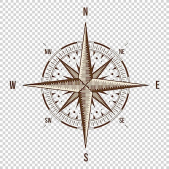Vector compass. high quality illustration. old style.