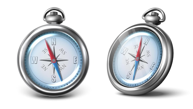 Vector compass icon in two view front and side isolated on white background