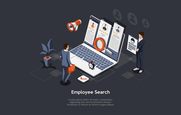 Vector composition on employee search process, hiring on job vacancy, candidate selection and interviewing concept. isometric illustration, cartoon 3d style. businesspeople standing near computer.