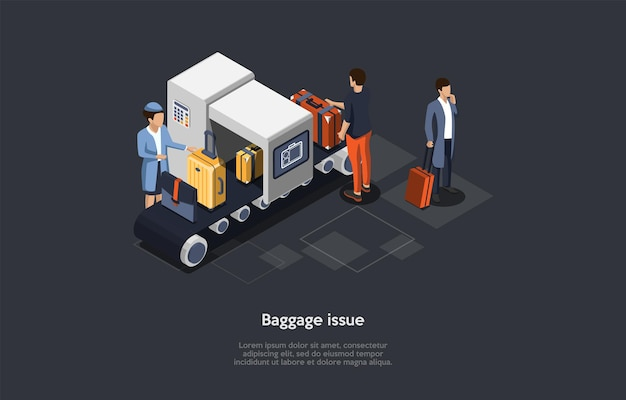 Vector composition. isometric design, cartoon 3d style. baggage issue. problems with luggage suitcases, forbidden items in bags. three characters. airport control worker, checking line, customers.