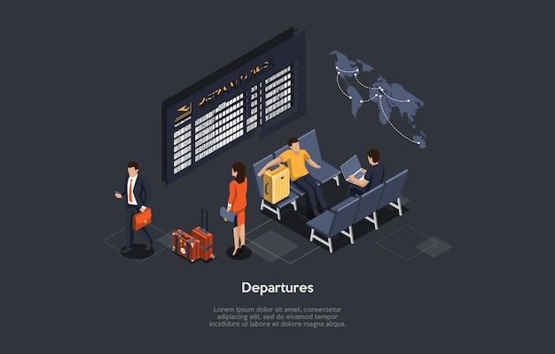Vector composition. isometric design, cartoon 3d style. departures list concept. airport inside location. group of people with baggage waiting, infographics. world map, airplane flight lobby interior.