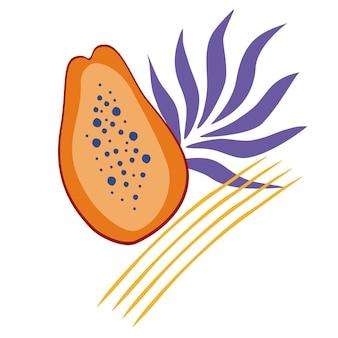 벡터 하프 파파야와 야자수 잎의 구성입니다. 씨와 익은 파파야. 레이블, 로고, 스티커, 엽서, 포스터, 티셔츠 디자인을 위해 손으로 그린 평면 벡터 일러스트