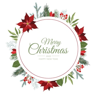 Векторная композиция с ветвями зимнего леса. отлично подходит для рождественских открыток, приглашений на вечеринку, праздничных распродаж. может использоваться для плаката, веб-страницы, упаковки.