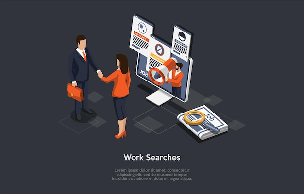 Vector composition on work search, employment process, job vacancy hire concept. isometric illustration, cartoon 3d style. businesspeople shaking hands, desktop computer with information on screen.