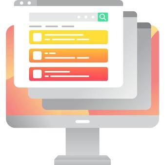 Вектор компьютер значок онлайн-браузер плоский веб-сайт