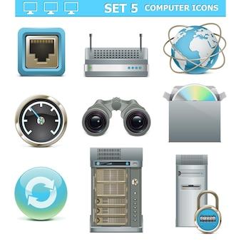 벡터 컴퓨터 아이콘 세트 5