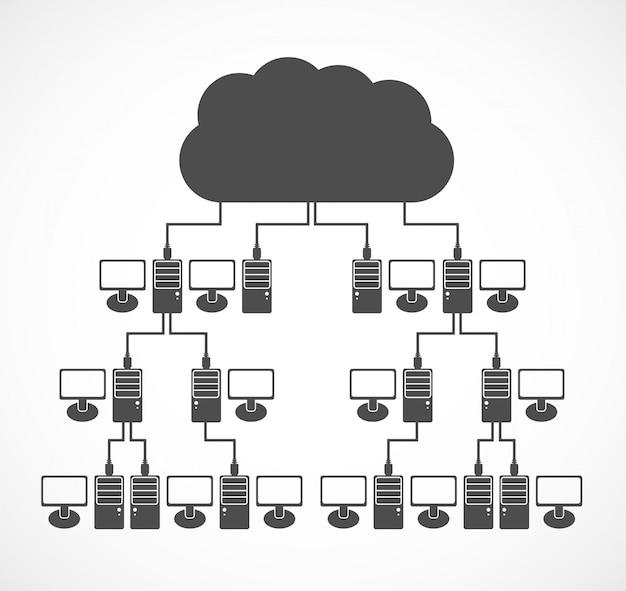 ベクトルコンピューターネットワークの概念。