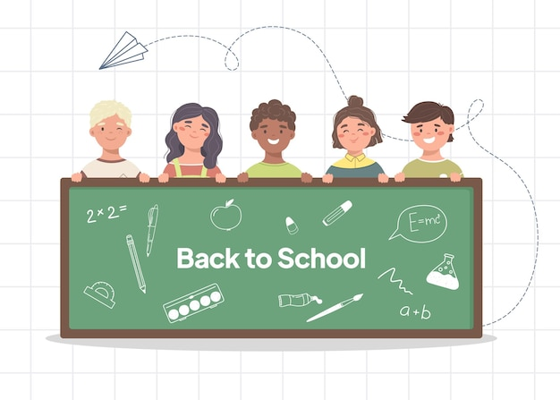 Vector concept back to school with cute kids and school board vector illustration of education