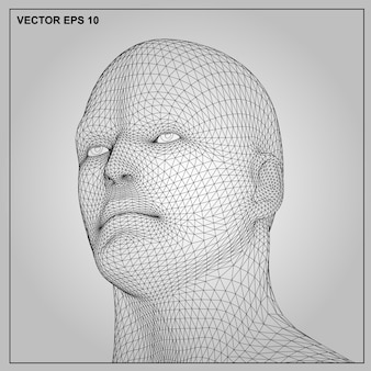 Vector concept or conceptual 3d wireframe human male