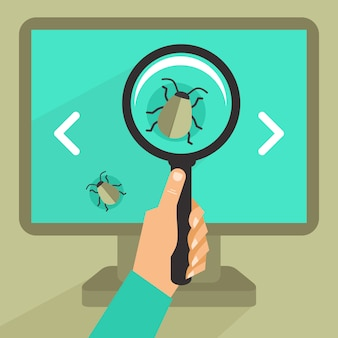 Vector concept in flat retro style - bug and virus in the programming code