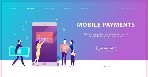 Векторный концепт для безопасного обслуживания мобильных платежей, дизайн целевой страницы сайта. плоский рисунок с людьми, платящими онлайн. минималистичная метафора. подходит для шаблона веб-страницы, баннера мобильного приложения и т. д.